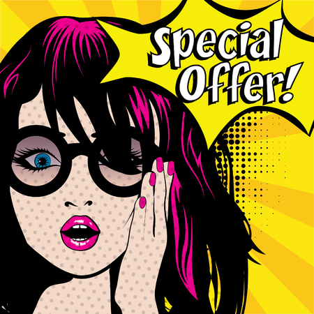 Pop Art Woman with Glasses - Special Offer