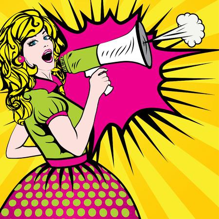 Illustration pour Pop Art Woman with Megaphone - image libre de droit