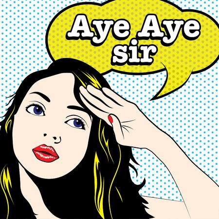 Illustration pour Pop art woman salute with aye aye sir typography - image libre de droit