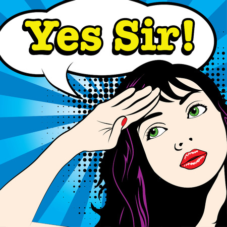 Illustration pour Pop art woman saluted with yes sir typography - image libre de droit