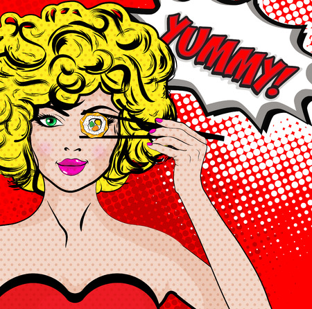 Ilustración de Pop art woman with sushi roll and the word YUMMY - Imagen libre de derechos
