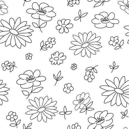 Photo pour Flowers coloring seamless pattern in doodle style - image libre de droit