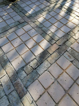 Photo for A closeup of a brick road with a tree shadow with a sunset light - Royalty Free Image