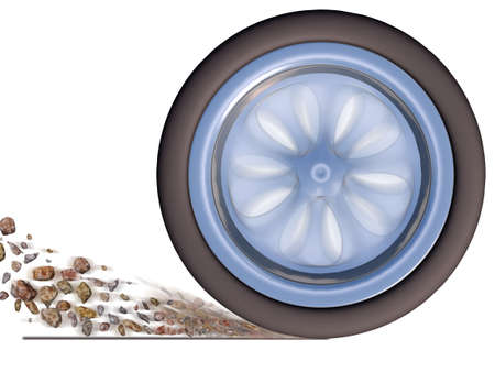 Automobile wheel in movement isolated on a white background (with effect of emission of rubble from under wheels)