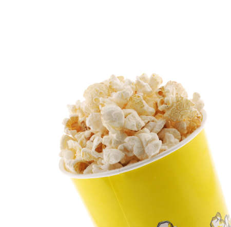 Popcorn. Grains of corn are isolated on a white background
