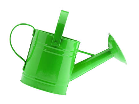 Green watering can. It is isolated on a white background