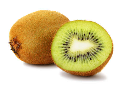 Section kiwi fruit. A detailed photo close up of exotic fruit on a white background