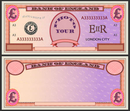 Stylistic orange banknote blank with pound sign and text your photo eps10