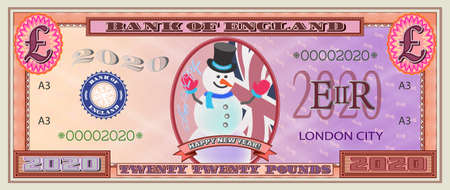 Happy New Year 2020 red pound banknote with snowman and flag EPS10