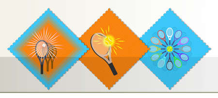 A set of three rhombus postage stamps dedicated to tennis. Rackets, balls and glowing rays EPS10