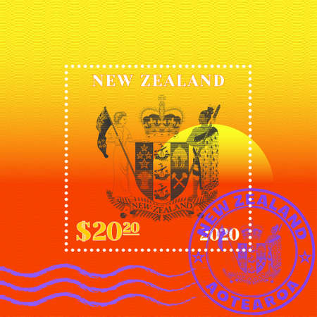 Sample of a postage stamp with wavy stripes. Coat of arms made of strokes against the sunset. Purple seal with Maori inscription New Zealand