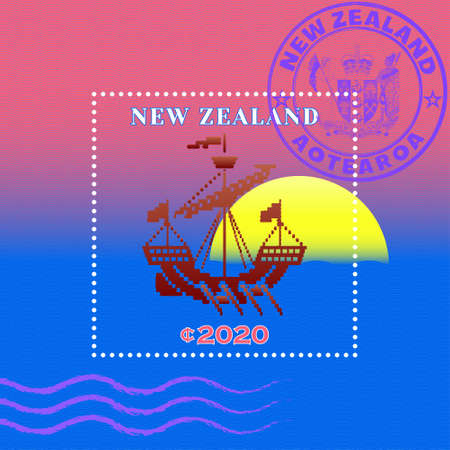 Sample of a postage stamp with wavy stripes. Stylistic vintage sailing ship. Purple seal with Maori word mean New Zealand