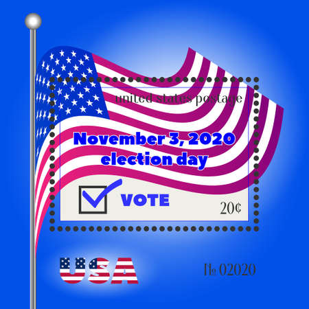 Postage stamp USA dedicated to the elections of November 3, 2020 against the background of the flag EPS10