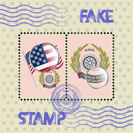 Block stamps with dummy flag and emblem with magnifying glass