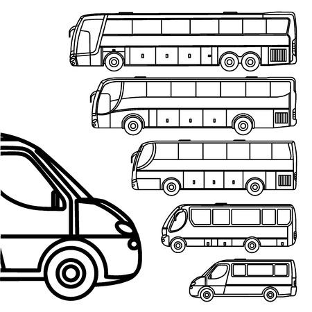 Illustration pour Buses and van line drawing icon set - image libre de droit