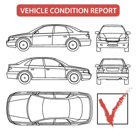 Foto de Car condition report car checklist, auto damage inspection vector - Imagen libre de derechos