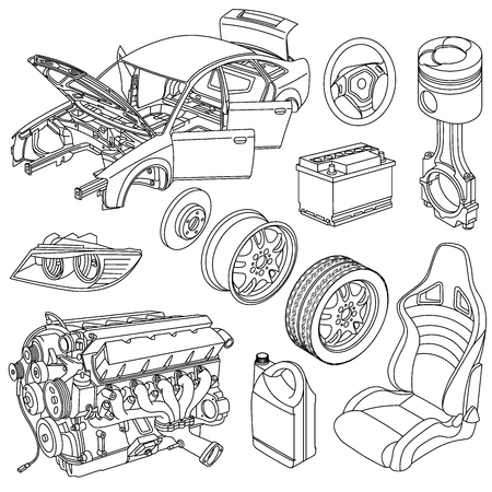 Illustration for car spare parts - Royalty Free Image