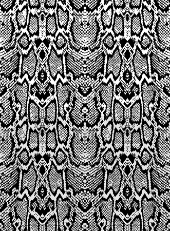 Illustration pour Snake skin texture. Seamless pattern black on white background - image libre de droit