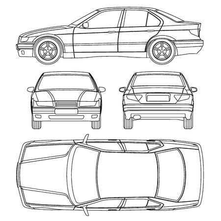 Illustration pour Car line draw insurance damage, condition report form - image libre de droit
