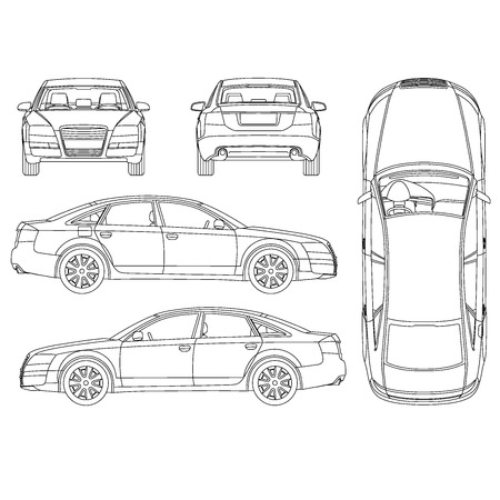 Illustration for Car all view, top, side, back, front - Royalty Free Image
