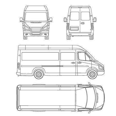 Illustration pour Vector service car template. White blank commercial vehicle - delivery van. - image libre de droit