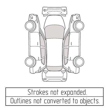 Ilustración de car suv nspectoin form drawing outline strokes not expanded - Imagen libre de derechos