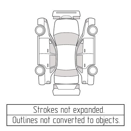 Illustration pour car sedan inspection form drawing outline strokes not expanded - image libre de droit