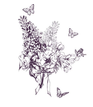 Illustration pour Bouquet of a blossoming lilac trees, Apple flowers, and butterflies. Hand drawn sketch.Vector illustration. Concept of a birthday card, invitation card, happy mothers day, advertising. - image libre de droit