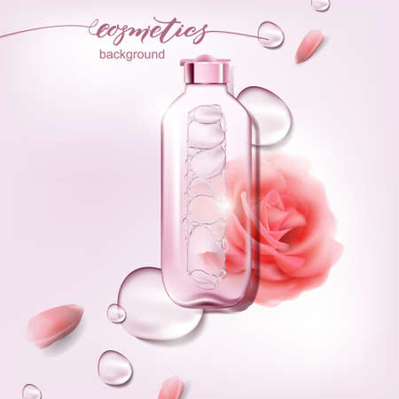 Illustration pour Vector 3D illustration poster with moisturizing cosmetic premium products, pink background with beautiful spray bottle with a pink rose and watery texture. - image libre de droit