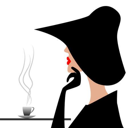 mysterious stranger in a black hat,  vector  illustration