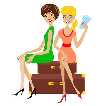 two young women sit on suitcases,  illustration