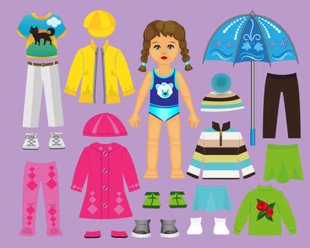 Ilustración de Paper doll clothes and set for play and creativity. Part 2. Autumn - Imagen libre de derechos