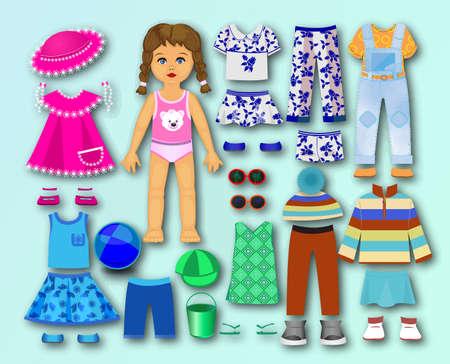 Ilustración de Paper, cardboard with clothes for children - Imagen libre de derechos