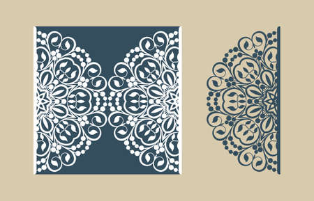 Illustration for The layout of the cards in three additions. The template is suitable for greeting cards, invitations, menus, etc. the picture suitable for laser cutting or printing. Vector. Easy to edit - Royalty Free Image