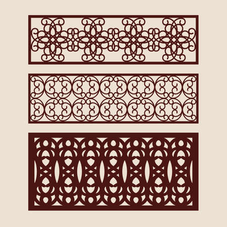 Illustration for Set floral geometric ornaments. Collection of decorative panel templates. The drawing is suitable for cutting paper, printing, laser cutting or engraving wood, metal. Manufacturer of stencils. Vector - Royalty Free Image