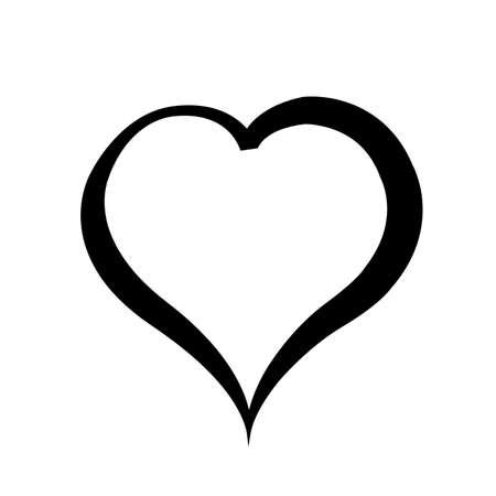 Ilustración de Black heart on white background. - Imagen libre de derechos
