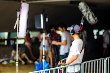 Photo pour Blurred picture, background, movie film set, one record sound - image libre de droit