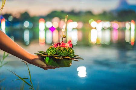 Photo pour Flowers to celebrate the Loy Krathong festival in Thailand - image libre de droit