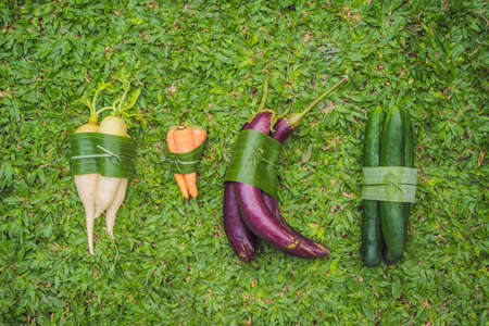 Photo pour Eco-friendly product packaging concept. Vegetables wrapped in a banana leaf, as an alternative to a plastic bag. Zero waste concept. Alternative packaging - image libre de droit