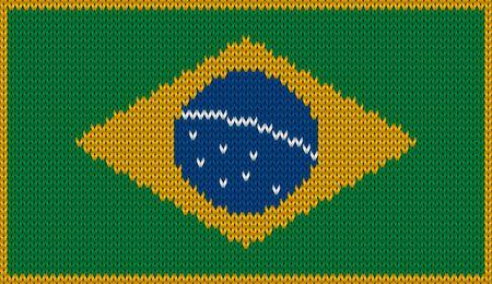 Design of knitted badge of Brazil - BR, BRA - flag. National Brazilian flag of knitwear fabric pattern.