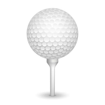 Golf ball on white tee realistic illustration background.