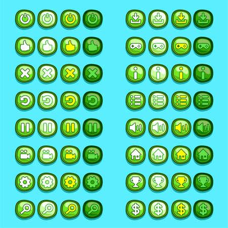 Illustration pour green game icons buttons icons, interface, ui - image libre de droit