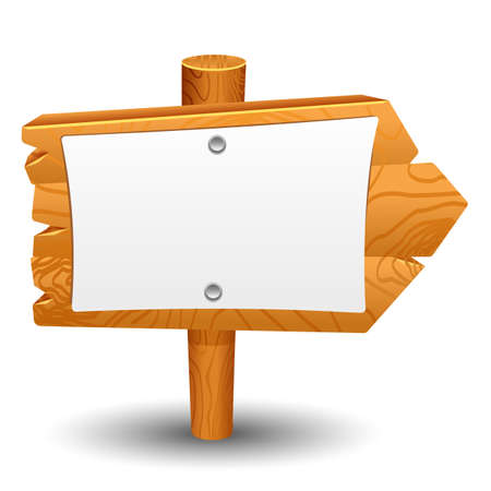 Ilustración de Wooden sign post icon symbol label set - Imagen libre de derechos