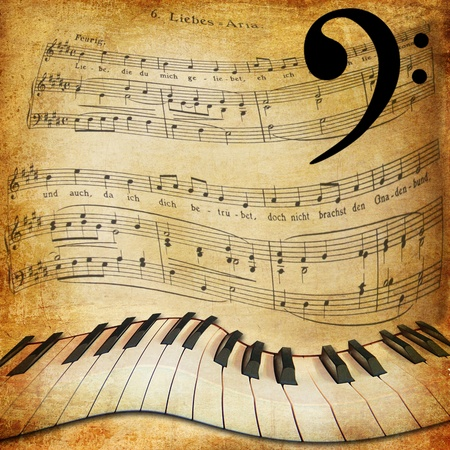 Musical sepia background with warped piano and notes