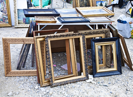 Munich, great choice of wooden frames carved and gilded at the open air giant flea market,the biggest flea market of Bavaria, more than 2000 market stalls just for one day in spring. You find everything, very cheap.