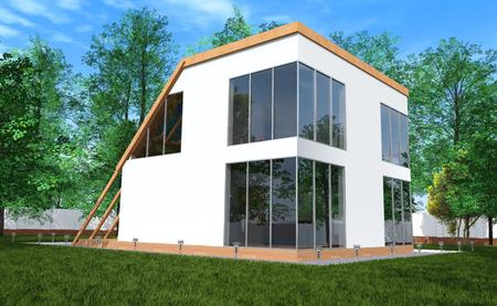 Modern house a simple form with large stained-glass windows set in its own garden, surrounded by green lawns and trees