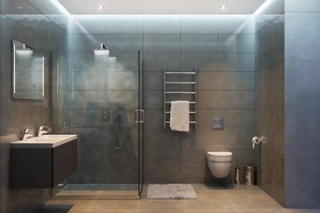 Photo pour 3d illustration of gray modern shower room with equipment and accessories in the evening - image libre de droit