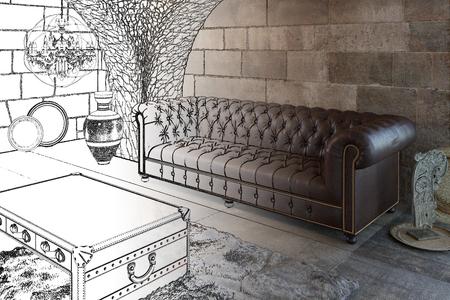 Photo pour 3d illustration. Sketch of the living room - image libre de droit