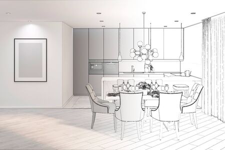 Photo pour 3d illustration. Sketch of modern dining room turns into a real interior - image libre de droit