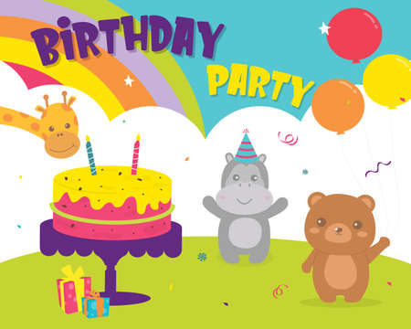 Illustration for Happy Birthday with decoration for greetings card. Set birthday Party Bear, hippopotamus and giraffe cards design invitation. Card for kids and baby shower. Colorful cute card design. - Royalty Free Image